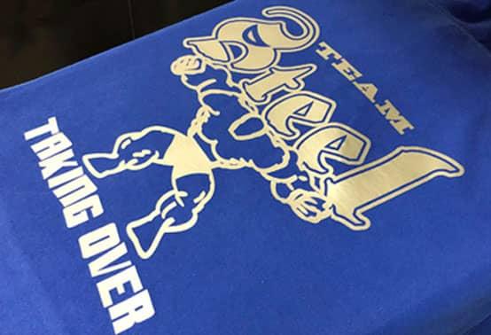 Team Steel design printed on a blue t-shirt using Thermoflex® Stamping System