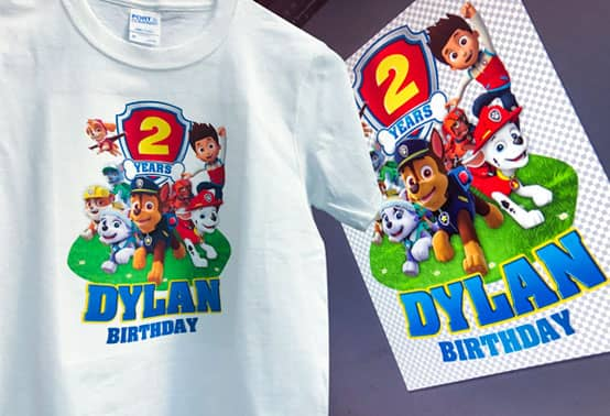 Paw Patrol design personalized for a 2nd birthday, printed on a t-shirt using Transfer Printing