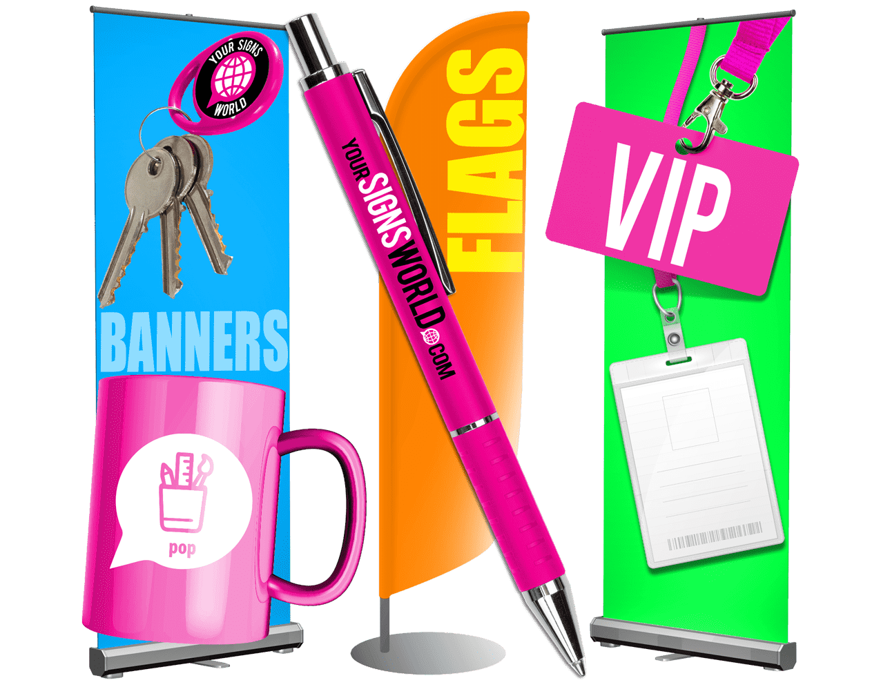Branded feather flag, banners, mug, pen and ID card