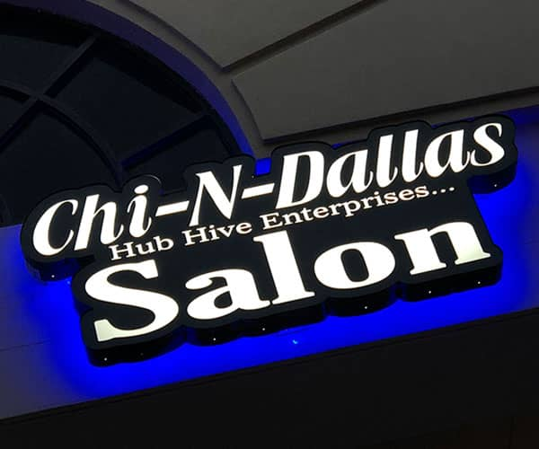 Front and Back Lit Sign(blue halo effect) for Chi-N-Daller Salon by YSW