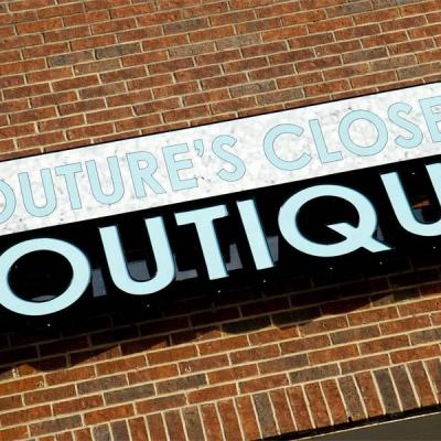 Front Lit Channel Letters and Cabinet Sign for Couture's Closet Boutique