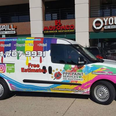 Full van wrap. Colorful design for a painting company featuring logo, phone number and social media logos on a white background.