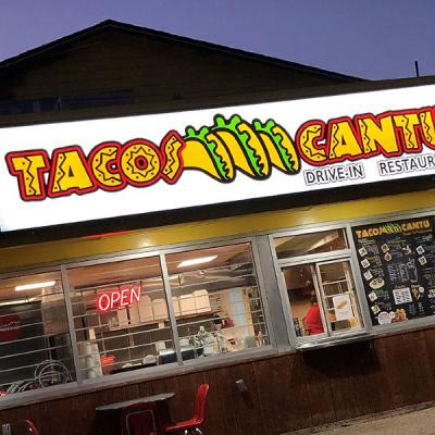 Cabinet sign for Tacos Cantu in Dallas, TX - Logo on a white background
