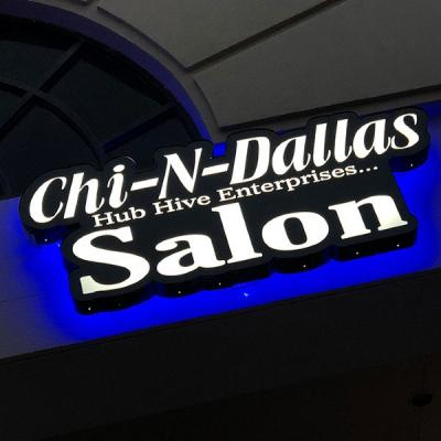 Cabinet sign plus backlighting for a blue halo effect - Chi-N-Dallas Salon