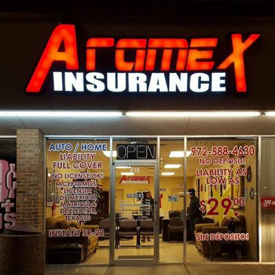 Front lit channel letters sign. Red and white letters - Aramex Insurance