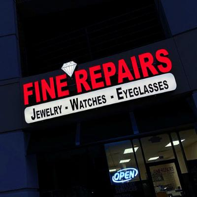 Front lit channel letters sign combined with a cabinet sign - Fine Jewelry Repairs