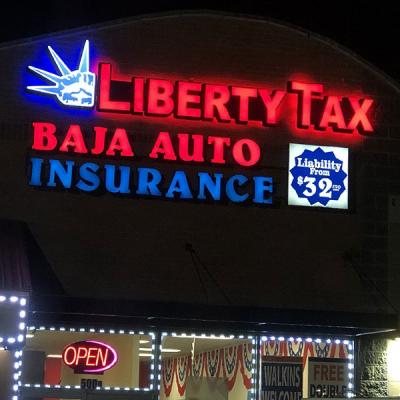 Front lit channel letters sign combined with a cabinet sign - Liberty Tax - Baja Auto Insurance