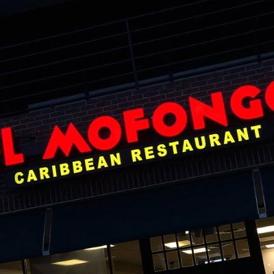 Front lit channel letters sign in red - Mofongo Caribbean Restaurant
