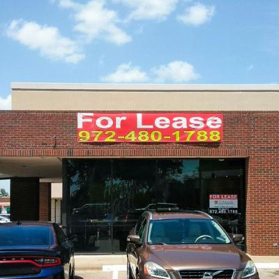 For lease banner - White and yellow letters on a red background