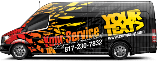 Black van with red and yellow design, logo and texts - Vehicle Full Wrap